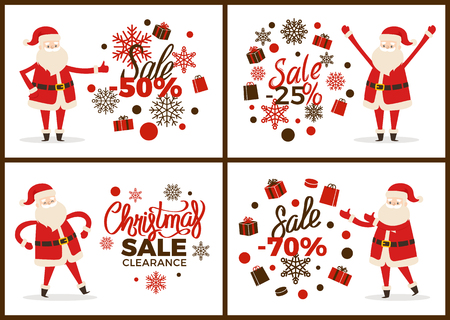 Christmas Sale Clearance Banner with Santa Claus Stock Illustratie