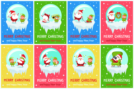 Merry Christmas and Happy New Year Poster Stock Vector - 92041433