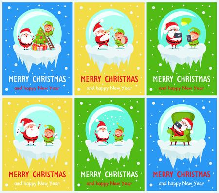 Feliz navidad y feliz año nuevo cartel Foto de archivo - 92041431