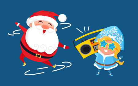 Modern Santa Claus and Snow Maiden Music Recorder