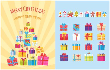 Merry Christmas Poster with Present Boxes Symbols Ilustração