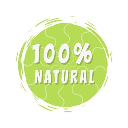 100 Natural Inscription on Green Painted Spot Illustration