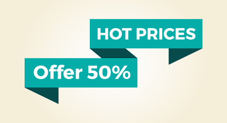 Hot prices 50 offer icon with light blue sign isolated on white background. Vector illustration with half price off sale clearance in 3D design Illustration