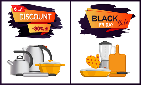 Black Friday discount advert o white background. Vector illustration with electrical teapot, blender and kitchenware surrounding sign set of banners Çizim