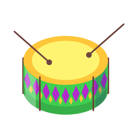 Drum with sticks cartoon icon. Snare or side drum with decorated colored rhombuses sides and ball tip drumsticks flat vector isolated on white background. Percussion musical instrument illustration Illustration