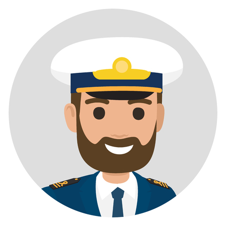 Cartoon bearded captain in uniform smiles broadly on portrait in grey circle isolated vector illustration on white background.