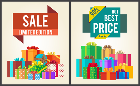 Sale limited best price 90 edition super discounts vector illustration labels with percent signs banners with present gift boxes in wrapping paper Illustration