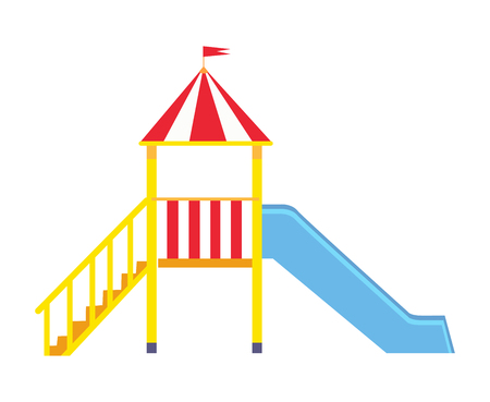 Vector poster depicting large blue slide for children with yellow ladder and little balcony with crown and flag on it isolated on white background.