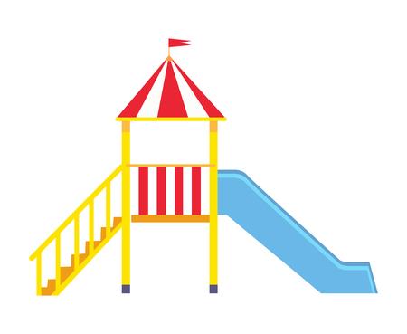 Vectoraffiche die grote blauwe dia voor kinderen met gele ladder en klein balkon met kroon en vlag op het afschilderen geïsoleerd op witte achtergrond. Stock Illustratie