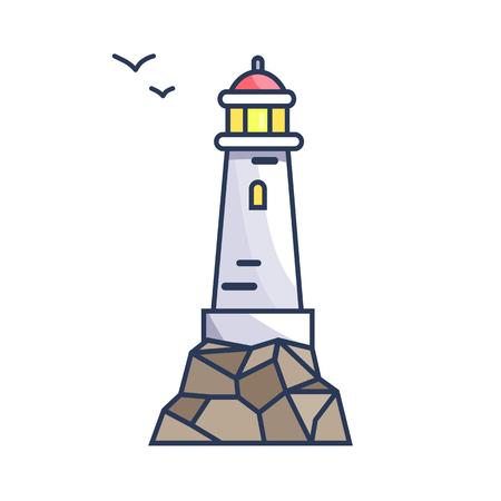 岩や小鳥が飛ぶ光を持つ背の高いビーコン。船舶ベクトルイラストレーションのための信号を作るために水面上の特別な構造。