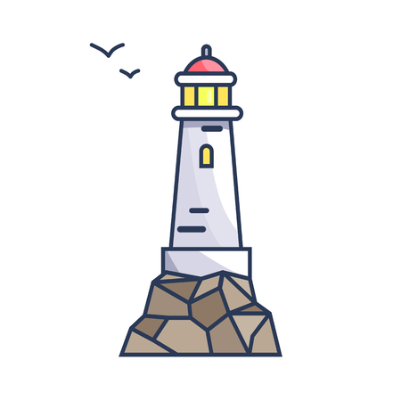 Tall beacon with light on rock and small birds that fly by. Special construction on water surface to make signals for ships vector illustration.