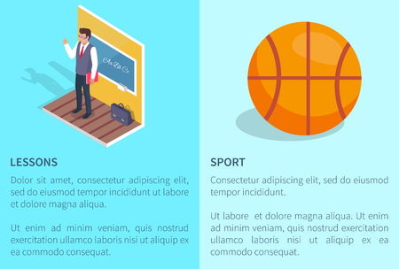 Learning and sport posters with teacher standing near blackboard and basketball ball vector illustrations with text information isolated on blue