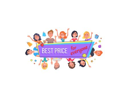 Best offer for everyone promotional poster surrounded by happy customers vector illustration isolated on white. People with shopping bags and presents  イラスト・ベクター素材