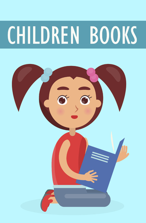 Children books advertisment. Little cute girl with ponytails sits and holds book isolated vector illustration on blue background.