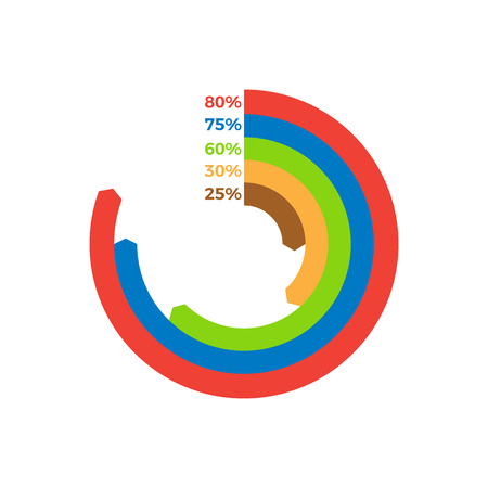 Infographic made of stripes with arrows of different colours, showing percentage of represented part vector illustration isolated on white Çizim