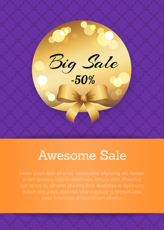 Awesome sale -50 off golden label with round blurred elements vector illustration with gold bow isolated on poster on purple background, place for text Illustration