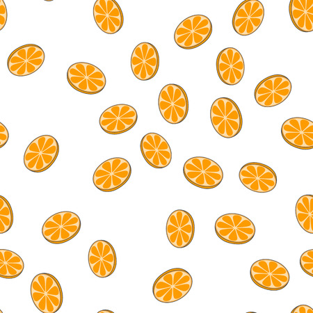 Sliced Oranges Vector Seamless Pattern on White