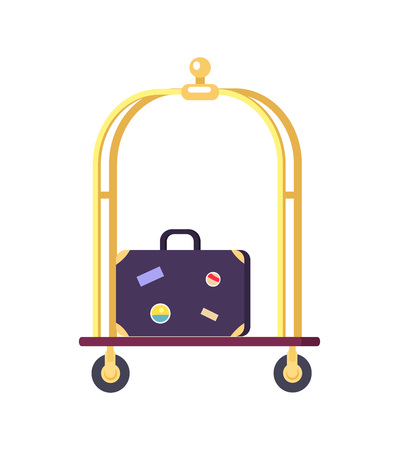 Bellman s Cart with Bag Icon Vector Illustration
