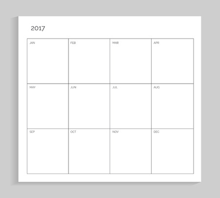 Empty calendar planning, sheet of paper with year and months, clear spaces for filling in, vector illustration isolated on white background
