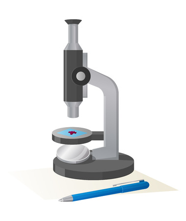 Modern microscope with small purple object on stage being investigated isolated vector illustration on white background witg blue pen