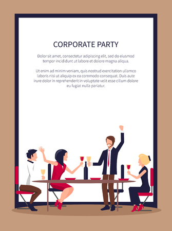 Drinking and Partying People Vector Illustration Stock Photo