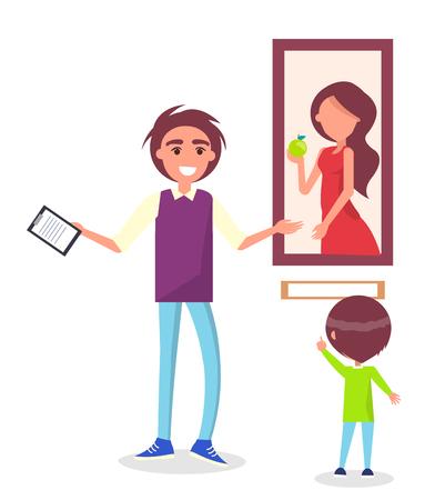 Begeleide excursie in Picture Gallery voor schoolkind Stock Illustratie