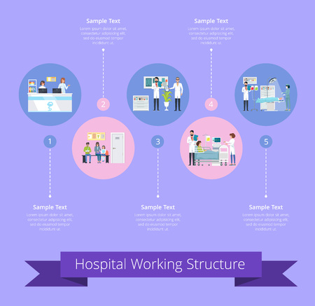 Hospital Working Structure Illustration. Vettoriali