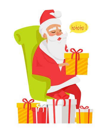 Sitting Santa Claus Among Big Colourful Presents Stock Photo