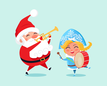 Santa Claus and a girl playing music icon. Illustration