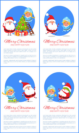 Happy New Year and Merry Christmas set of banners.