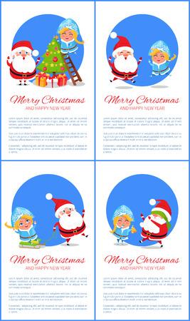 Joyeux année et joyeux noël ensemble de cartes de souhaits Banque d'images - 92137644