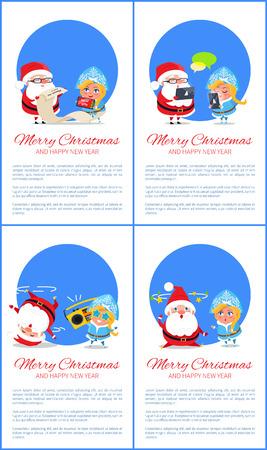 Joyeux année et joyeux noël ensemble de cartes de souhaits Banque d'images - 92137645