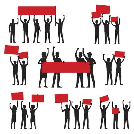 Grupo de personas con carteles icono. Ilustración de vector