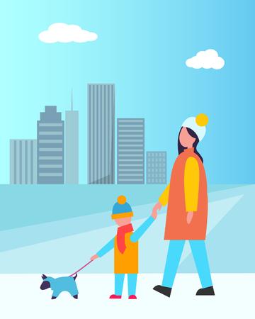 Family Walking Dog Together Vector Illustration