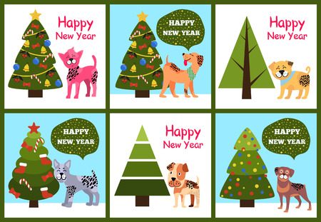 Happy New Year Posters Set with Christmas Trees and Puppies