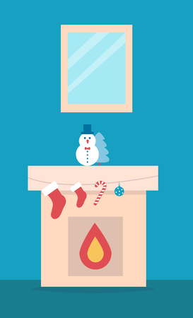 Fireplace with snowman toy and Christmas tree and socks for present from Santa. Vector illustration with festive decorations on blue background