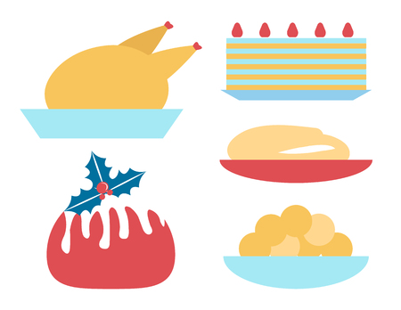 Christmas Dinner Icons Set on Vector Illustration Ilustração