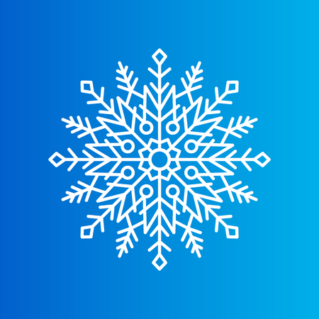 Snowflake Created from Ornamental Patterns on Blue Çizim