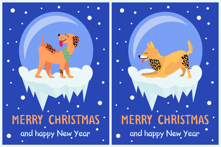 Merry Christmas and Happy New Year 2018 Symbols Illustration