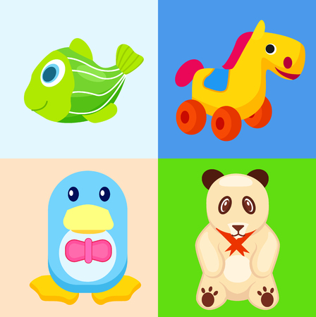 Funny Animal Toys in Colored Squares Illustrations 向量圖像