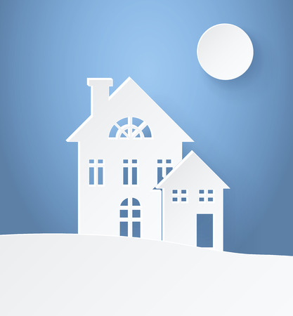 Winter Landscape paper silhouettes light postcard with small family buildings on light background. Vector illustration with snowy panorama illuminated by moon Ilustração