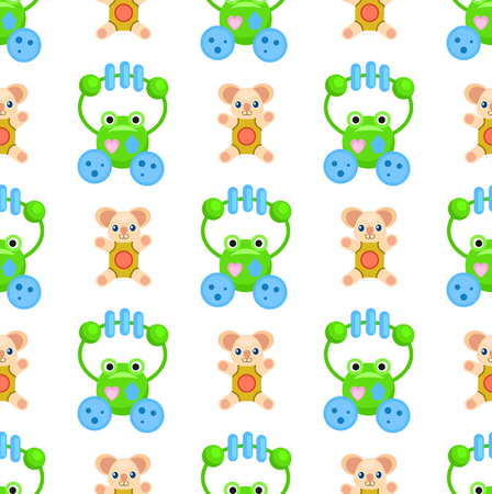 Seamless pattern with green frogs and brown plush bears toys for children isolated on white. Vector wrapping paper with playthings Illustration