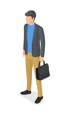 Man in gray jacket, beige trousers, black briefcase and shoes vector isolated on white. Student or college boy cartoon character, stylish guy Banque d'images - 92041413