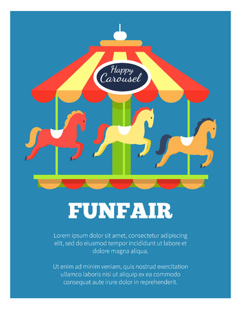 Funfair Advertisement Poster Vector Illustration