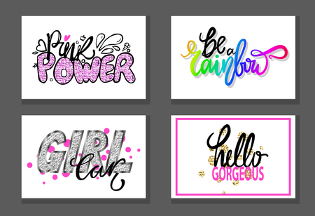 Set of graffiti fonts slogans isolated on white background. Vector illustration with signs Be a Rainbow, Hello Gorgeous, Pink Power and Girl Car Illustration