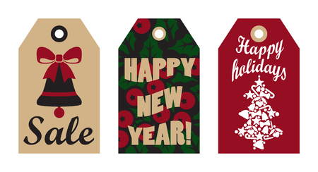 Sale happy New Year set of cards, with images of bell with bow, mistletoe and tree made up of stars, balls and candies, headlines vector illustration
