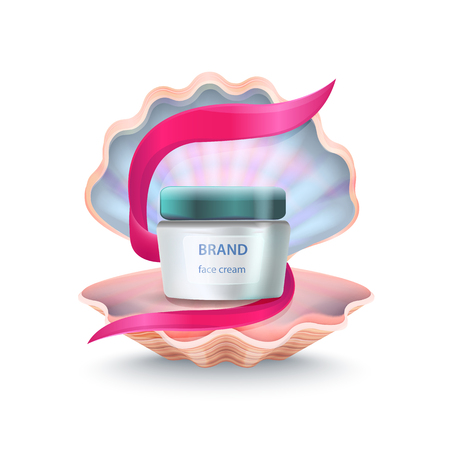 Brand face cream placed inside of shell with pink ribbon in it, close up of icons represented on vector illustration isolated on white Çizim