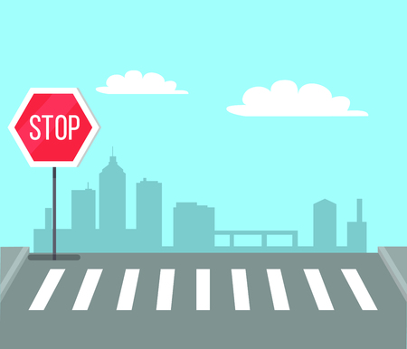 Pedestrian crossing with stop sign, traffic light vector illustration on background of city center. Place on road to cross the street