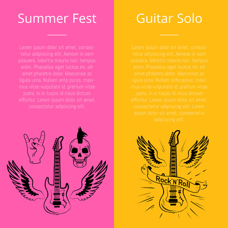 Summer fest and guitar solo set of banners with text. Vector illustration of electric guitars, punk skull with mohawk hairstyle and sign of horns