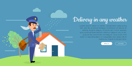 Delivery in any weather cartoon web banner. Postman in uniform with mailbag delivering letter in stormy weather flat vector illustration. Horizontal concept for mail or post company landing page Illustration